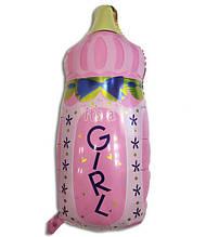 Воздушный шарик из фольги Бутылочка с соской розовая 1407