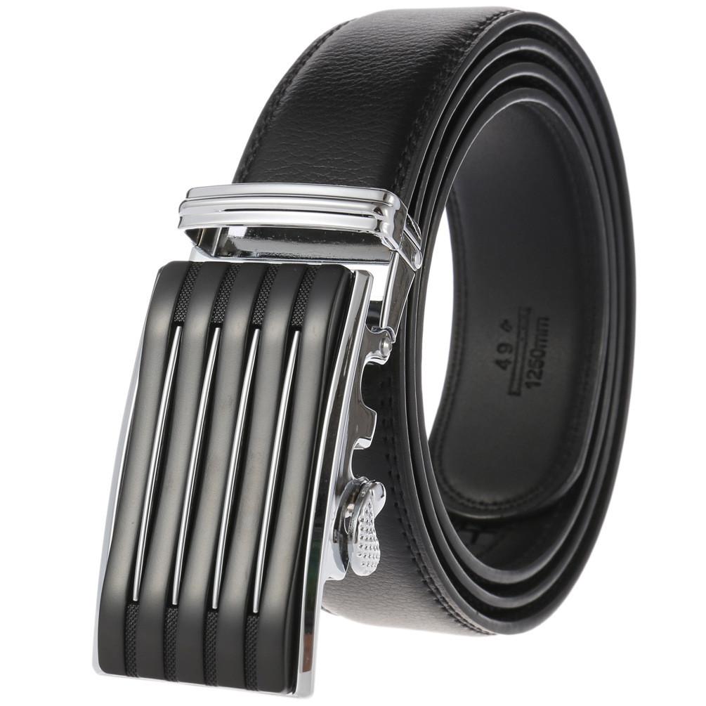 Мужской Ремень Кожаный с Автоматической Пряжкой Пояс (LY-36-712) Черный 110см
