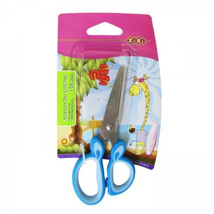 Ножницы детские ZiBi ZB5011 128мм с резиновыми вставками на ручках, фото 2