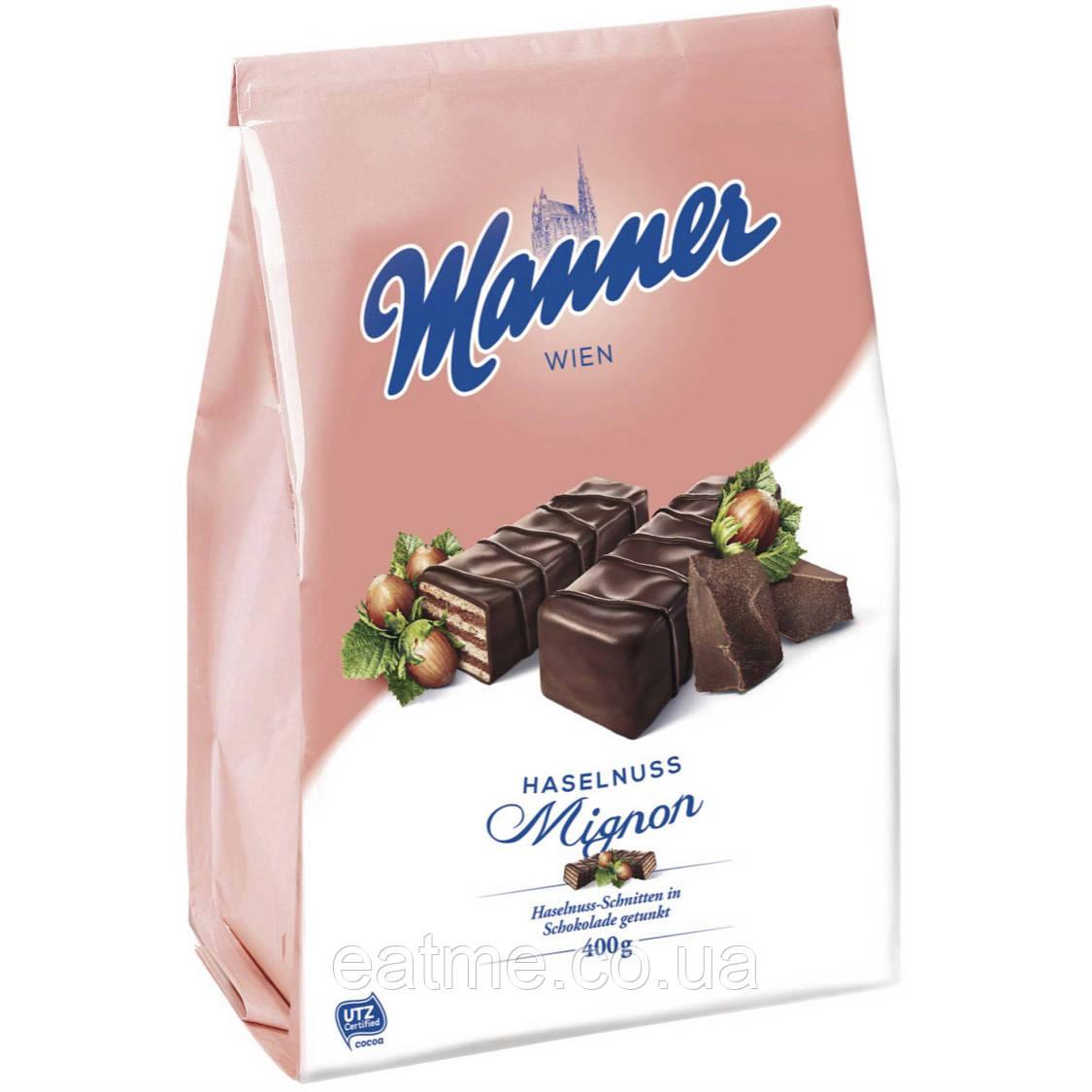 Manner Невероятно вкусные Венские вафли с ореховой начинкой в чёрном шоколаде