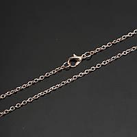 Основа для підвіски, Ланцюжок, Колір: Рожеве золото, 3 мм x 2.5 мм ланка, 77 см довжина
