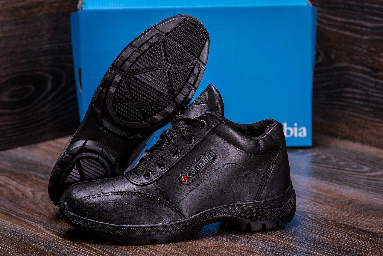 Мужские зимние кожаные ботинки черные (40-45) ПК-zk Antishok