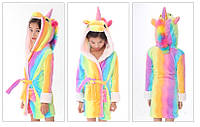 Халат кигуруми детский Единорог радужный плюшевый 120-150