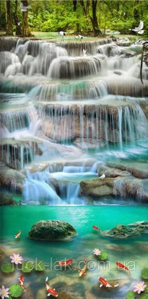 Алмазная вышивка водопад с золотыми рыбками, полная выкладка, 40х80 см