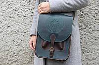 Кожаная сумка-планшет для документов, большая зелёная сумка, формат А4, фото 1