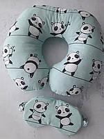 """Дорожна подушка """"Панди"""" +маска для сну в подарунок"""