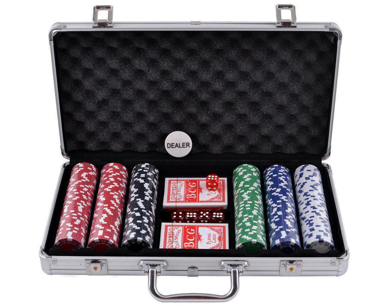 Набор для покера с кейсом на 300 фишек с картами и кубиками