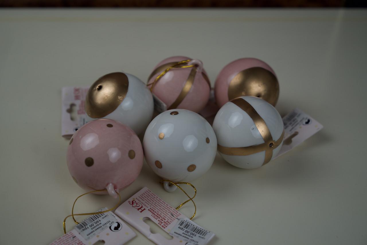 Комплект новогодних керамических игрушек 10шт