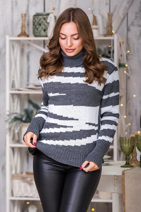 Модный вязаный свитер Тирамису (темно-серый, белый)(44-52)