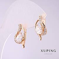Серьги Xuping Mir-31114 женские золотистые с белым камнем 19*10 мм родий