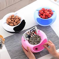 Миска для семечек, чипсов с подставкой для телефона Розовая
