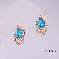 Серьги Xuping Mir-32039 женские золотистые с голубыми камнем 16*9 мм позолота