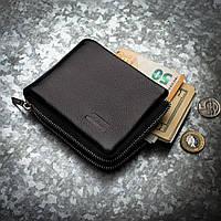 Кожаное портмоне с зажимом для денег на молнии Kafa (639-А)
