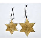 Новогодняя игрушка золотая звезда комплект металический 2шт, фото 5