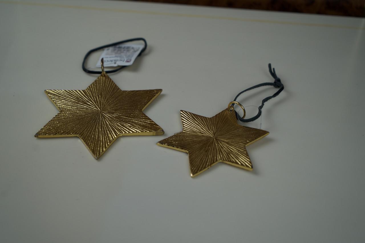 Новогодняя игрушка золотая звезда комплект металический 2шт