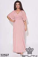 Платье пудровое с люрексом и гипюром в пол (размеры от 50 до 60)