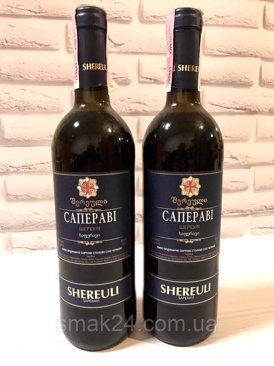 """Вино ТМ """"Шереулі"""" орд. Саперваі червоне сухе 0.75 л 14%"""