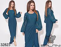 Длинное вечернее платье с гипюровым верхом и юбкой на запах с 42 по 48 размер