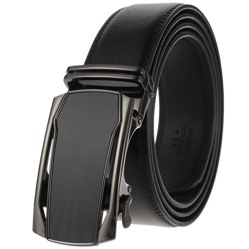 Мужской Ремень Кожаный с Автоматической Пряжкой Пояс (LY-36-22000) Черный 110см