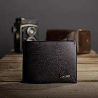 Портмоне кошелек мужской кожаный с зажимом Kafa на магните, черный (555-10m)