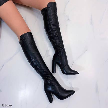 Черные женские сапоги на каблуке, фото 2