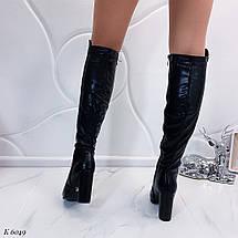 Черные женские сапоги на каблуке, фото 3