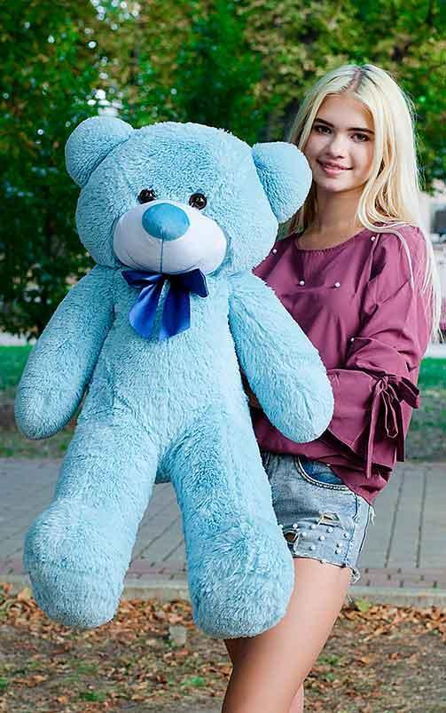 Плюшевый Мишка 100см. Большой Мишка Ромео игрушка Плюшевый медведь Мягкие мишки игрушки Ведмедик (Голубой)