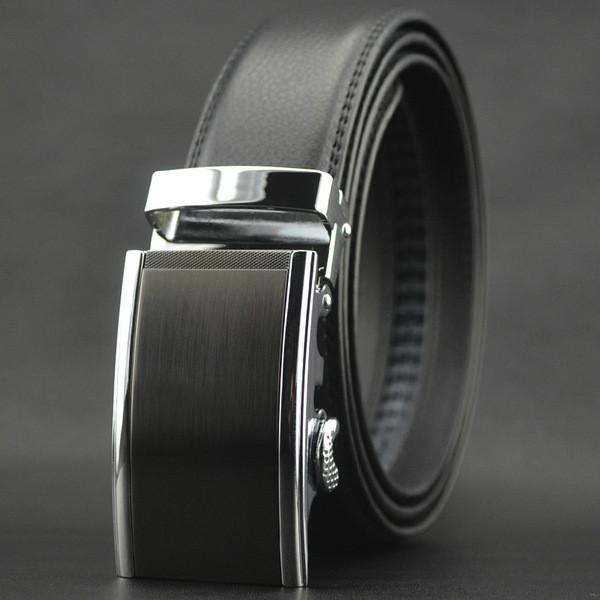 Мужской Ремень Кожаный с Автоматической Пряжкой Пояс (LY87572) Черный 130см