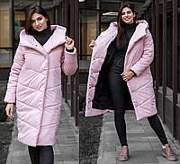 Женская зимняя куртка розовая пальто-одеяло Mi-mi-mi