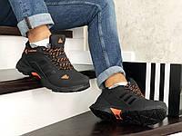 Кроссовки мужские в стиле адидас 8666 Adidas Climaproof чорні з помаранчевим зима