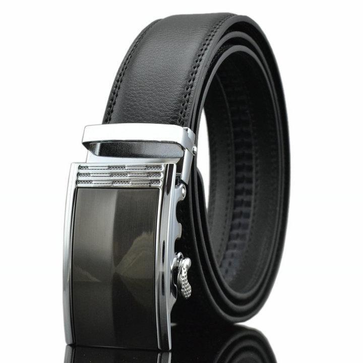 Мужской Ремень Кожаный с Автоматической Пряжкой Пояс (LY87607) Черный 110см
