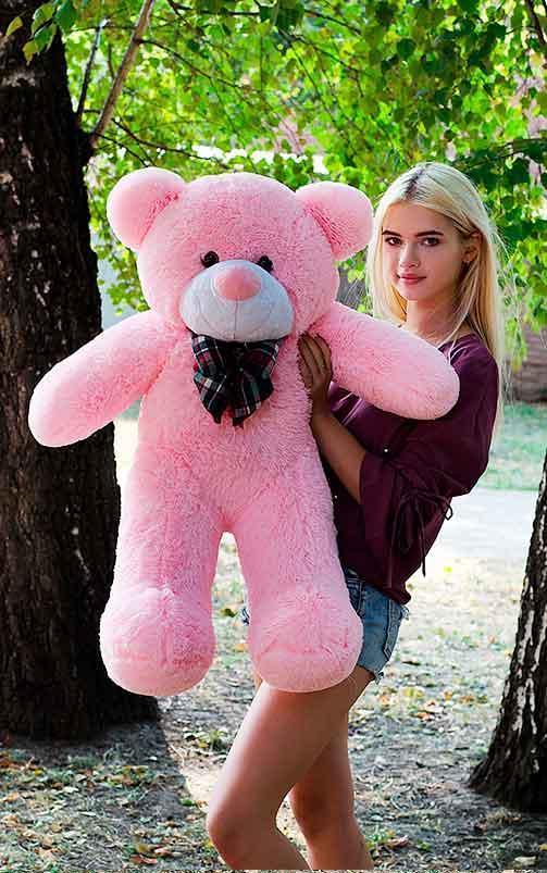 Плюшевый Мишка 100см. Большой Мишка Ромео игрушка Плюшевый медведь Мягкие мишки игрушки Ведмедик (Розовый)