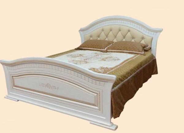 Кровать 2-сп.1.8  с мягким изголовьем Николь (патина)