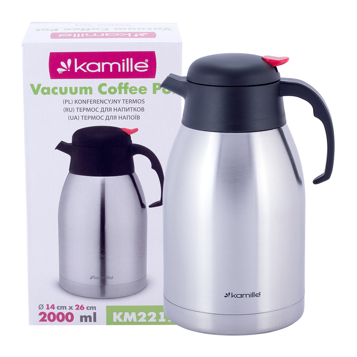 Термос для чаю і кави Kamille 2000мл з нержавіючої сталі конференційний