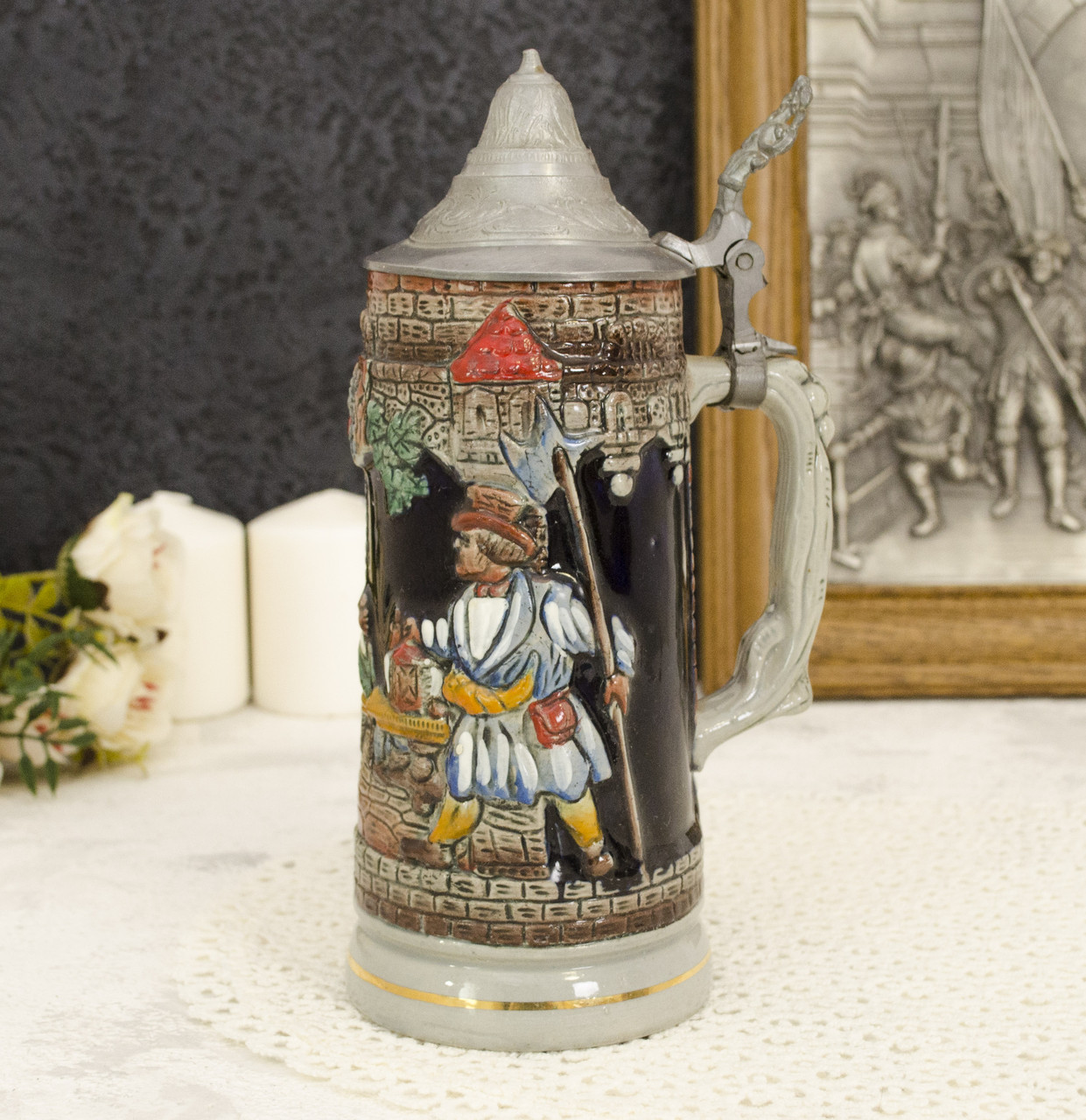 Пивной бокал с оловянной крышкой, керамика, Олово, Германия