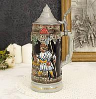Пивной бокал с оловянной крышкой, керамика, Олово, Германия, фото 1
