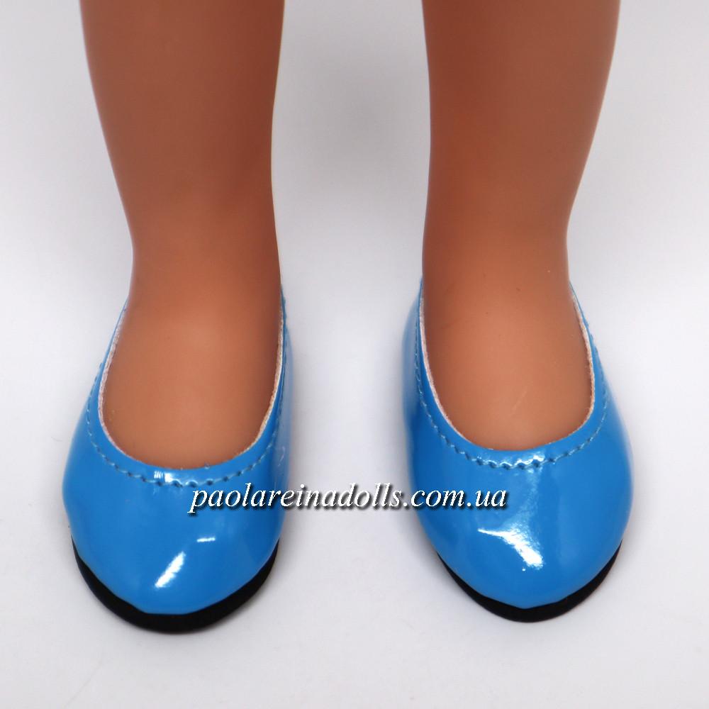 Туфлі блакитні лакові для ляльок Паола Рейну