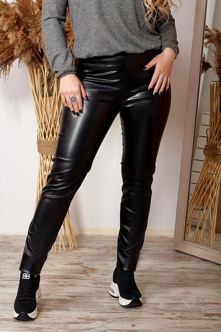 Женские черные лосины эко кожа средняя посадка размеры: 46-48, 50-52,54-56,58-60, 62-64