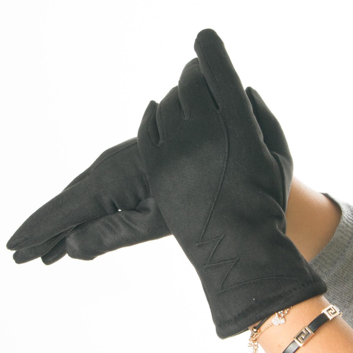 Женские перчатки из искусственной замши с узором № 19-1-51-5