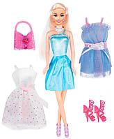 Кукла Ася блондинка с 3 нарядами и аксессуарами, Модный гардероб, Ася