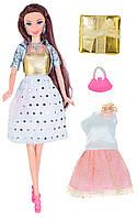 Кукла Ася брюнетка с 2 нарядами, аксессуарами и сюрпризом, Модный гардероб, Ася