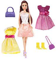 Кукла Ася брюнетка с 3 нарядами и аксессуарами, Модный гардероб, Ася