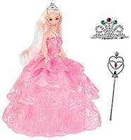 Кукла Ася в вечернем платье и подарки для девочки (тиара и волшебная палочка), Ася