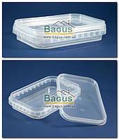 Емкость 0,2л из пищевого пластика прямоугольная с крышкой (прозрачная)