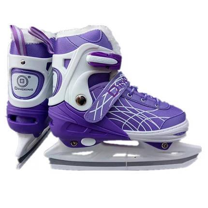 Коньки ледовые раздвижные с мехом - Фиолетовый, размер 35-38, фото 2
