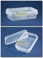 Емкость 0,3л из пищевого пластика прямоугольная с крышкой (прозрачная)