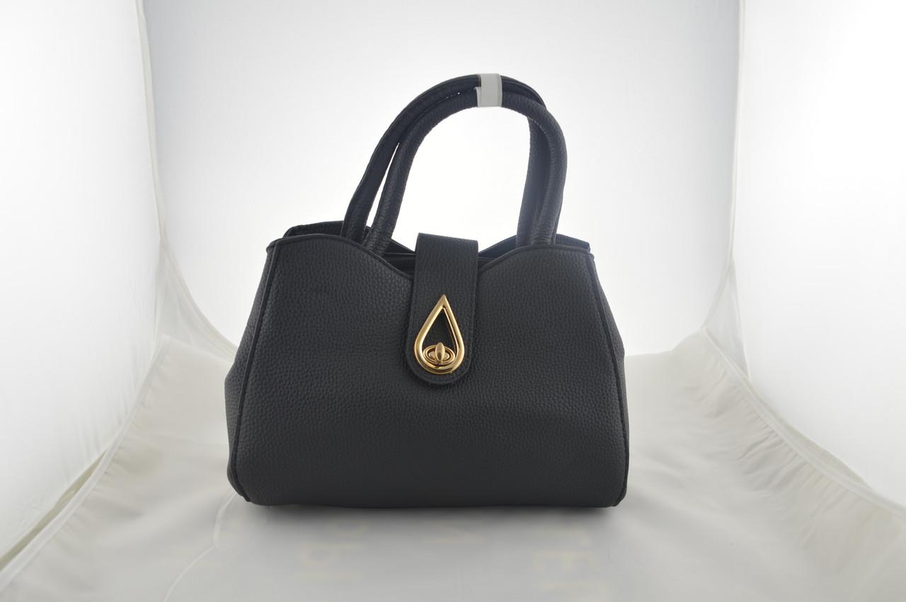 Черная женская сумка которая держит форму из эко кожи, фото 1