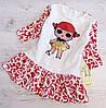 Р.98,104 Детское платье Лол с паетками белое с красным