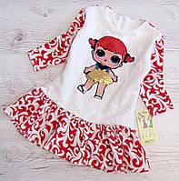 Р.98,104 Детское платье Лол с паетками белое с красным, фото 1