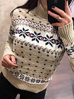 Удобный и красивый шерстяной женский свитер с рисунком (вязка)